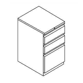 "Three Drawer Stationary Pedestal - 15""W, 34961"
