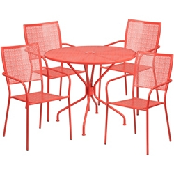 "35.25"" Table and Four Armchair Set, 86326"