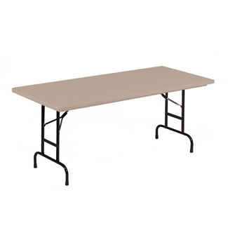 "Lightweight Adjustable Height Plastic Folding Table - 96""W x 30""D, 46072"