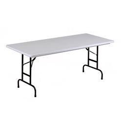 "Lightweight Adjustable Height Plastic Folding Table - 72""W x 30""D, 46071"