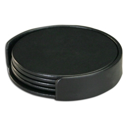 Round Top-Grain Leather Coaster Set, 82644