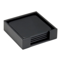 Square Faux Leather Coaster Set, 82647