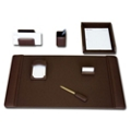 Seven Piece Top-Grain Leather Desk Accessory Set, 82643