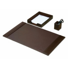 Three Piece Bonded Leather Desk Accessory Set, 82635