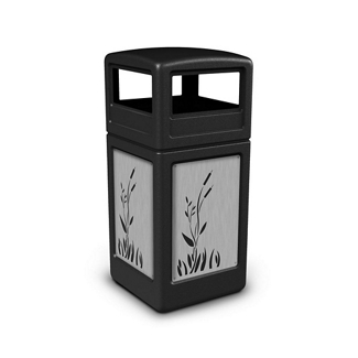 Dome Lid Waste Receptacle with Cattail Design - 42 Gallon, 82382