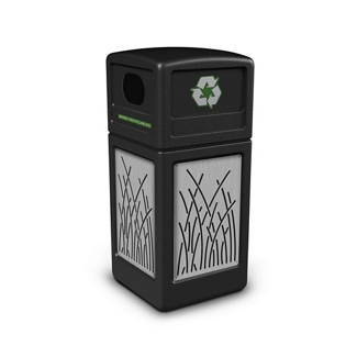 Decal Recycling Receptacle with Reed Design - 42 Gallon, 82387