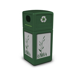 Decal Recycling Receptacle with Cattail Design - 42 Gallon, 82390