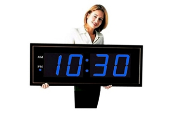 "Digital LED Clock with 8"" Blue Numerals, 82753"