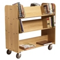 Large Three Shelf Double-Sided Mobile Book Cart - Angled Shelves, 36520