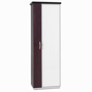"72""H Five Shelf Glass Door Storage Cabinet With Left Hand Wardrobe, 32976"