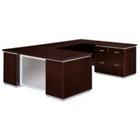 Mocha Lateral File Credenza U-Desk with Right Bridge, CD07138
