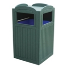 Recycled Plastic Outdoor Trash Bin with Tray Holder - 44 Gallon, 87319