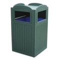 Recycled Plastic Outdoor Trash Bin with Tray Holder - 42 Gallon, 87319