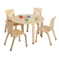 """Child-Sized Round Bentwood Play Table - 30""""DIA x 18""""H, 41833"""
