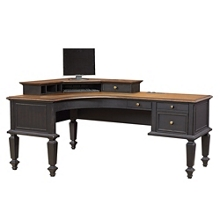 "Two Tone Half Pedestal L-Desk - 72""W, 14265"