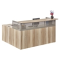 At Work Right Return L-Desk with Pedestal in Warm Ash, 14174