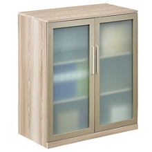 At Work Storage Cabinet with Glass Doors in Warm Ash, 31606