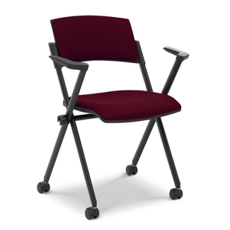 Fabric Nesting and Stacking Chair with Arms and Casters, 51101