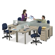 At Work Four Person Compact Workstation Set in Warm Ash, 14282