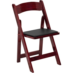 Wood Folding Chair with Vinyl Seat, 51062