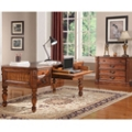 Antique Finish Writing Desk with Leather Top and Lateral File Set, 14312