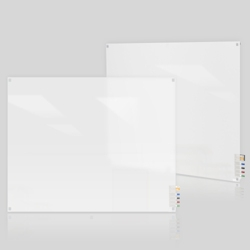 3' W x 2' H Square Corner Frosted Glass Board, 80501
