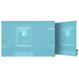 3' W x 2' H Magnetic Square Corner Glass Board, 80516