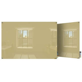 4' W x 3' H Magnetic Square Corner Glass Board, 80517