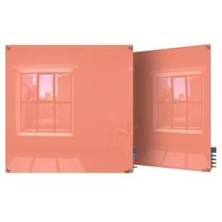 4' W x 4' H Magnetic Square Corner Glass Board, 80518