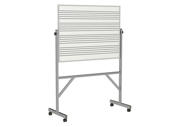 Reversible Whiteboard with Music Staff Lines and Blade Tray - 3' x 4', 80940