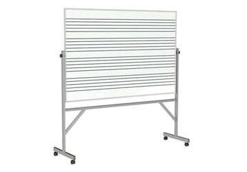 Reversible Whiteboard with Music Staff Lines and Box Tray - 4' x 6', 80943
