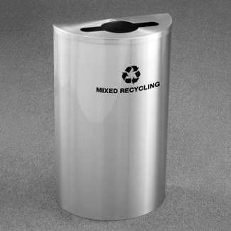 Half Round Satin Aluminum Mixed Recycling Bin, 85758