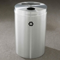 Round Satin Aluminum Bottles and Cans and Paper Recycling Bin, 85764