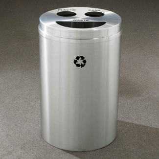 Round Satin Aluminum Bottles and Cans Recycling and Waste Bin, 85766
