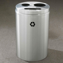 Round Satin Aluminum Bottles, Cans and Paper Recycling Bin, 85768