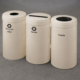 "15"" Diameter Painted Connected Recycling and Waste Bins, 85771"