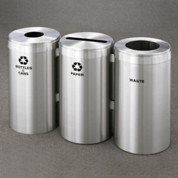 """20"""" Diameter Satin Aluminum Connected Recycling and Waste Bins, 85772"""