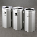"20"" Diameter Satin Aluminum Connected Recycling and Waste Bins, 85772"