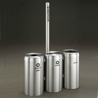 """20"""" Diameter Satin Aluminum Connected Recycling and Waste Bins with Sign, 85776"""