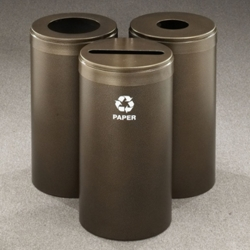 """15"""" Diameter Painted Triangular Connected Recycling Bins, 85779"""
