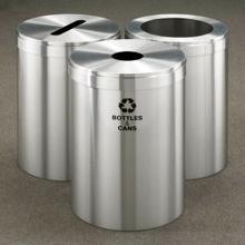 "20"" Diameter Satin Aluminum Triangular Connected Recycling Bins, 85780"
