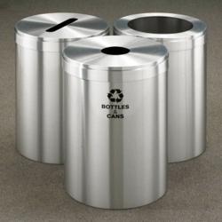 "15"" Diameter Satin Aluminum Triangular Connected Recycling Bins, 85778"