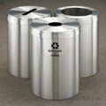 "15"" Diameter Satin Aluminum Triangular Connected Recycling Bins, 85778"
