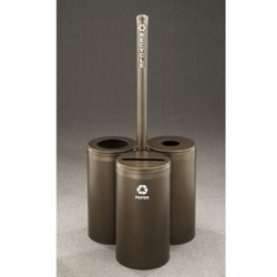 """15"""" Diameter Painted Triangular Connected Recycling Bins with Sign, 85783"""