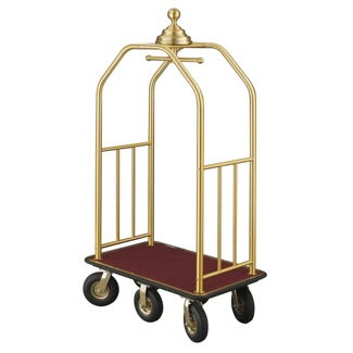 "Ball Crown Six Wheel Bellman Cart in Satin Brass- 49.5""W, 87536"