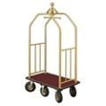 "Ball Crown Six Wheel Bellman Cart in Satin Brass- 49.5""W, 87536"