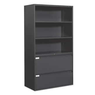 "36""W 2 Drawer Lateral File with Storage Hutch, 75696"