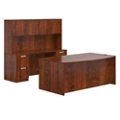 Executive Bowfront Desk Set with Credenza and Hutch, 14652