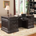 "Double Pedestal Executive Desk with Leather Top - 74""W, 14087"