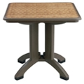 """Square Resin Table with Faux Wicker Tabletop - 32""""W, 46074"""